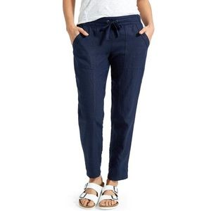 Athleta Linen Ankle Cuffed Pant Navy Blue